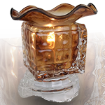 Glass Cube Oil Warmer - Brown