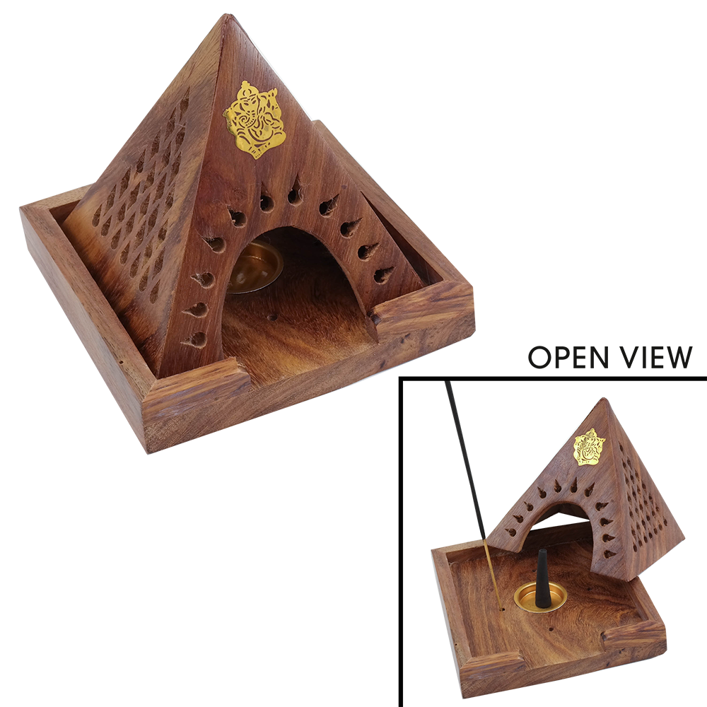 Wooden Pyramid Combo Incense Holder
