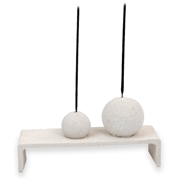 Sandstone Collection - Ball Incense Holder (2) w/ base