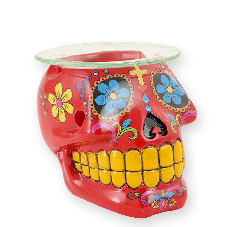 Day of the Dead - Oil Warmer- Red